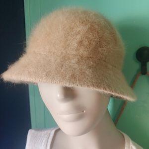 DNY Fuzzy Tan Angora Hat